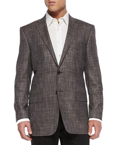 Versace City-Fit Windowpane Jacket, Tan
