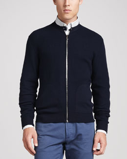 SALVATORE FERRAGAMO Knit Zip Cardigan, Navy