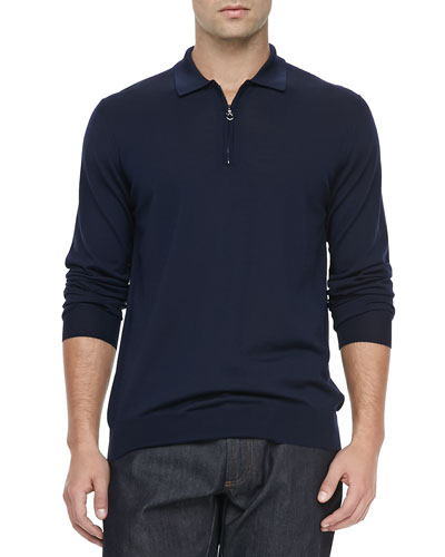 Salvatore Ferragamo 1/4-Zip Long-Sleeve Polo Sweater, Navy