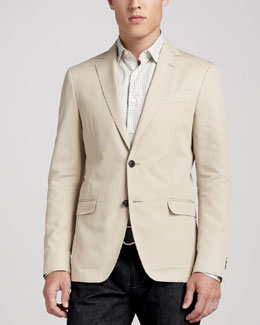 SALVATORE FERRAGAMO Unlined Cotton Jacket, Khaki