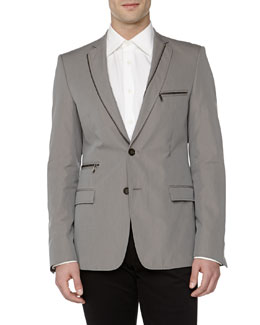 Versace Trend-Fit Zipper-Detail Jacket, Grey