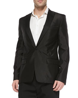 Versace Satin Evening Jacket, Black