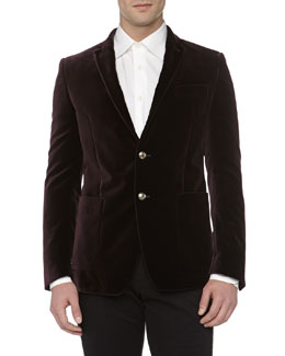 Versace Velvet Trend-Fit Deconstructed Jacket, Bordeaux