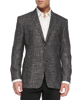 Versace City-Fit Two-Button Woven Jacket, Gray