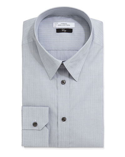Versace City Fit Long-Sleeve Striped Poplin Dress Shirt, Gray