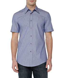 Versace Trend-Fit Dress Shirt, Blue