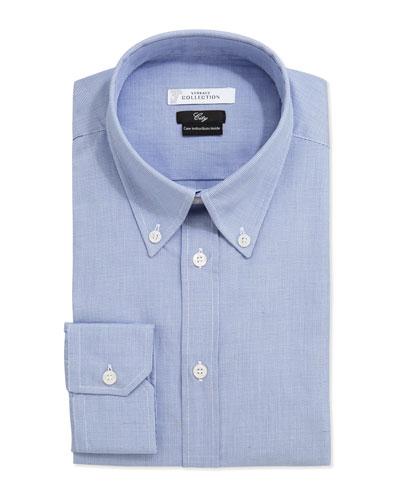 City Fit Long-Sleeve Print Dress Shirt, Blue