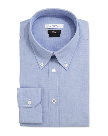 Versace City Fit Long-Sleeve Print Dress Shirt, Blue