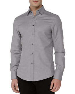 Versace Trend-Fit Textured Dress Shirt, Grey