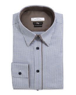Versace City Fit Long-Sleeve Button-Front Poplin Dress Shirt, Blue