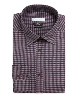 Versace Trend Fit Long-Sleeve Check Dress Shirt, Purple
