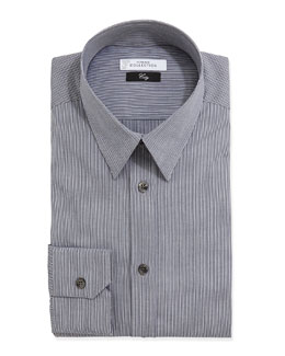 Versace City Fit Long-Sleeve Striped Dress Shirt, Dark Gray