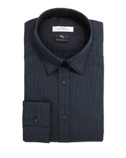Versace City Fit Striped Dress Shirt, Navy