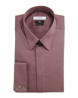 Versace City Fit Long-Sleeve French Cuff Dress Shirt, Purple