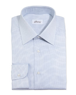 Brioni Lattice-Weave Dress Shirt, Blue