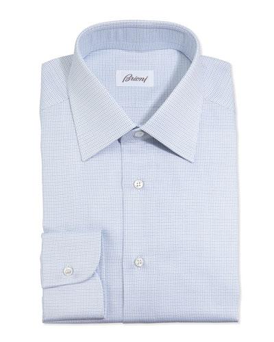 Lattice-Weave Dress Shirt, Blue