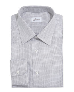 Brioni Lattice-Weave Poplin Dress Shirt, Brown