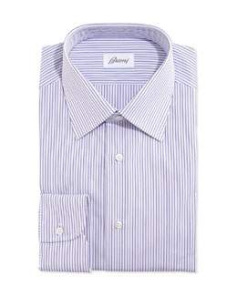 Brioni Rope-Stripe Woven Dress Shirt, Lavender