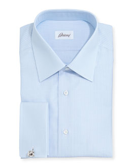 Brioni French-Cuff Tonal-Stripe Dress Shirt, Lt. Blue