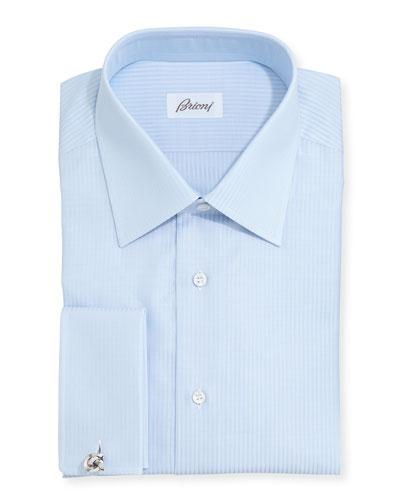 French-Cuff Tonal-Stripe Dress Shirt, Lt. Blue