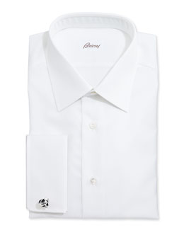 Brioni White-On-White Stripe Dress Shirt, White