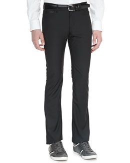 Versace Jersey Pants with Faux-Leather Trim