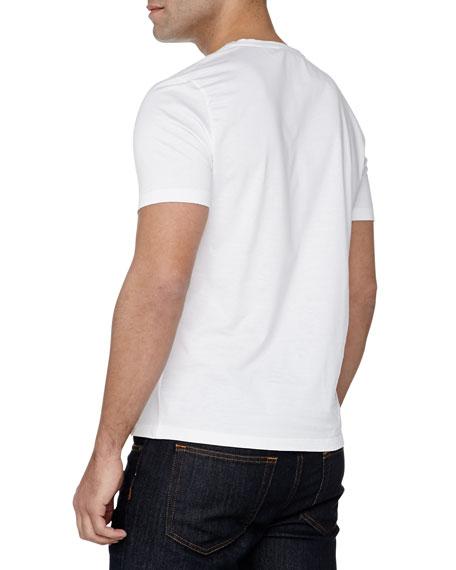 Short-Sleeve V-Neck Logo Tee, White