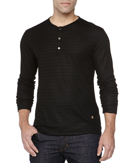 Versace Long-Sleeve Henley, Black