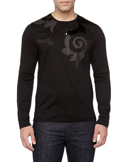 Versace Long-Sleeve Baroque Printed Tee, Black