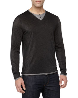 Versace Two-Tone Layered Henley