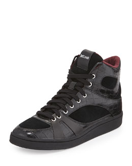 Just Cavalli Croc-Embossed Leather High-Top Sneaker