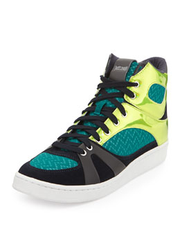 Just Cavalli Reflective-Panel Combo High-Top Sneaker