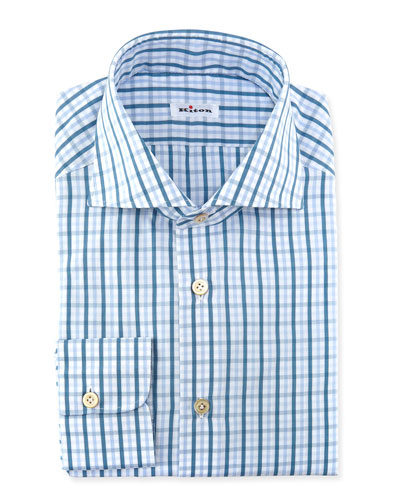 Windowpane-Plaid Dress Shirt, Teal