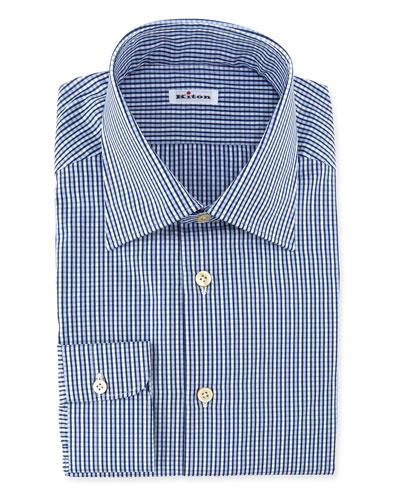 Saturated Check Dress Shirt, Blue
