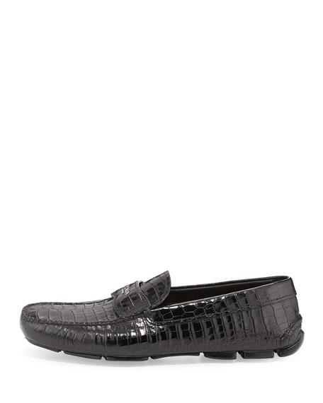 Stamped Croc Loafer, Black