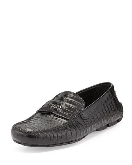 Prada Stamped Croc Loafer, Black