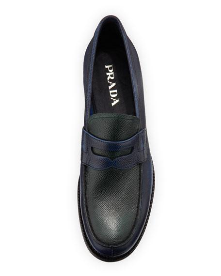 prada blue leather moc toe penny loafers