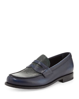 Prada Saffiano Penny Loafer, Blue/Green