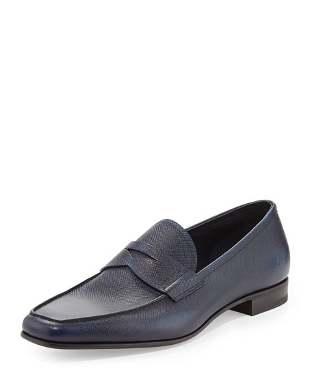 Saffiano Penny Loafer, Blue