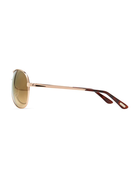 Charles Metal Aviator Sunglasses, Rose Gold