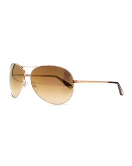 Tom Ford Charles Metal Aviator Sunglasses, Rose Gold