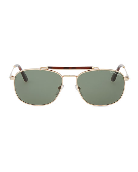 Marlon Metal Navigator Sunglasses, Rose Gold