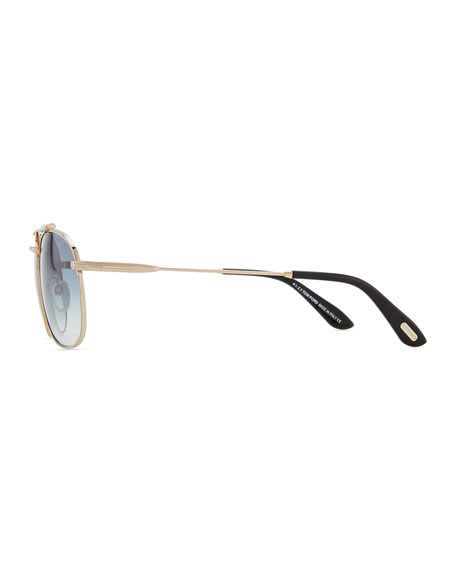 Marlon Metal Navigator Sunglasses, Rose Gold/Black