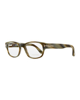 Tom Ford Hollywood Fashion Glasses with Clip-On Shades, Green Horn