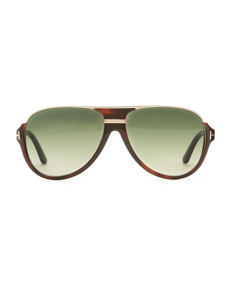 Dimitri Rimless Aviator Sunglasses, Green