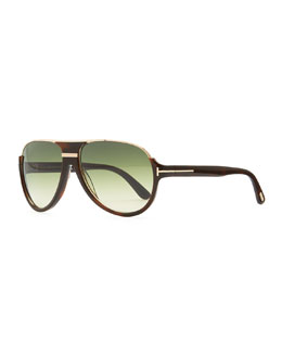 Tom Ford Dimitri Rimless Aviator Sunglasses, Green