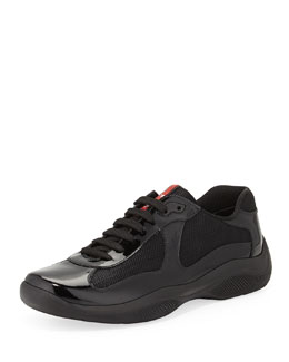 Prada America's Cup Patent-Leather Sneaker