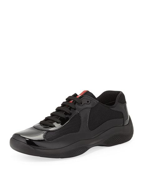 Prada Punta Ala Patent-Leather Sneaker