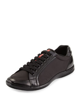 Prada Nylon and Spazzolato Low-Top Sneaker
