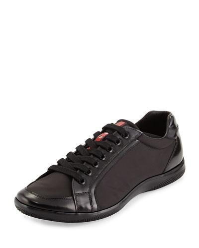 Prada Nylon and Spazzolato Low-Top Sneaker